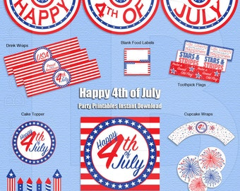 Happy 4th of July - Patriotic - Red White & Blue - Party Printables - Instant Download