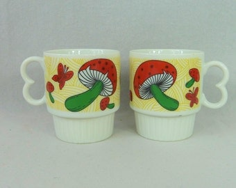 70s Stackable Mushroom Mugs - Red Green Yellow White Black - Mushrooms Butterflies - Small Japan Ceramic Stacking Cups - Vintage 1970's Mugs