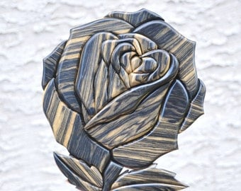 Handmade ebony rose intarsia piece - flower wood art - floral wall decor artwork - gift for her - wall hanging - scroll saw art decoration