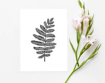 Fern INSTANT DOWNLOAD PRINTABLE Art, Leaf Print, Digital Print, Nature Print, Modern Print, Botanical Print, Home Decor, 8.5x11 inch and A4