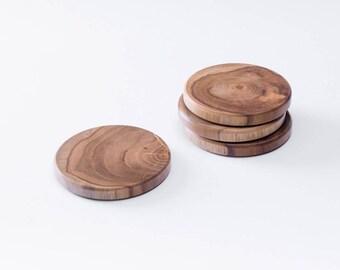 Teak Wood Round Coaster, Set of 4 pcs.