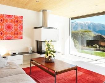 Red Blossom Mandala ~ Canvas print ~ Feng Shui Home Decor ~ Inspirational Visionary wall art ~ Abstract Art ~ Nature Photography ~ Australia