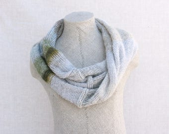 Mohair knit scarf / Knit infinity scarf cowl / Circle scarves / Knit shoulder warmer / Mohair warm shawl - Snow 1