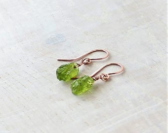 Peridot Rose Gold Earrings Raw Peridot Crystal Minimalist earrings August Birthstone Gift for Her Wedding Earrings Peridot Delicate Earrings