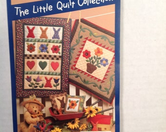 Little Quilts Gardens collection, small quilts, vintage pattern, flower quilts, small pillows, Cottontail's Garden Quilt, bunny pillow
