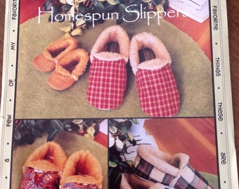 Homespun Slippers, Favorite Things, polar fleece slippers, fur lined slippers, flannel slipper, wool slippers, all size slipper pattern
