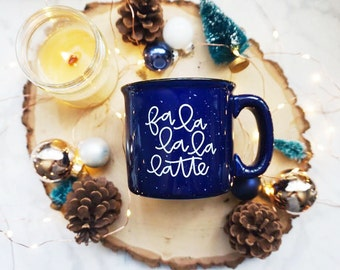 Fa La La La Latte / Winter / Deep Blue Campfire Mug
