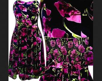 Betsey Formal/Prom/Wedding Multi Color Floral Sweetheart Strapless Corset Velvet Dress 6/8/10 M