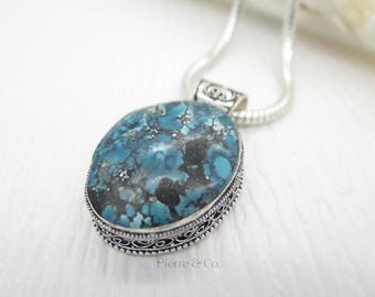 Antique Chrysocolla Sterling Silver Pendant and Chain