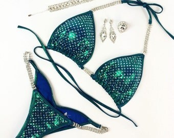 Sea Siren Competition Bikini - Heavy Bling with Sapphire AB and Aqua AB Crystals