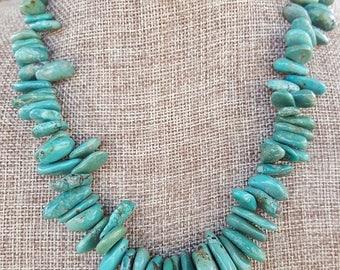 Large Genuine Turquoise Gemstone Zig Zag Necklace, Large Zig Zag Turquoise Gemstone Necklace, Large Turquoise Gemstone Necklace