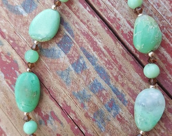 Chrysoprase and Sterling Silver Beaded Bracelet, Chrysoprase Gemstone and Sterling Beaded Bracelet, Chrysoprase Handmade Beaded Bracelet