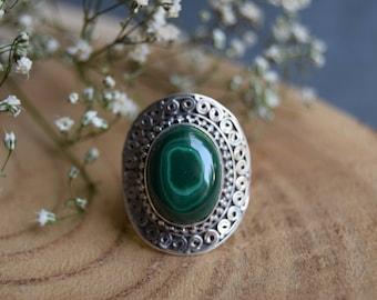 Malachite Ring, Sterling Silver Ring, Boho Ring, Size 7, Handmade Jewelry, Gemstone Ring, Malachite Jewelry, Gift for women, Green boho ring