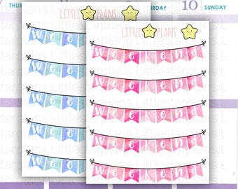 Blue or Pink Weekend Banners Planner Stickers | Fits in Erin Condren LifePlannerTM, Kikki-K Planner