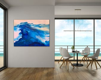 Abstract painting. Original art. Blue pink peach. Acrylic on canvas. Modern wall art. Abstract art. Fluid art. Resin art look. 122 x 92cm