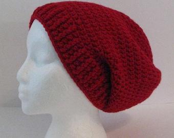 Crochet Slouchy Beanie Hat, Womens Slouchy Hat, Mens Slouchy Hat, Red Slouchy Beanie, Red Hat, Red Crochet Hat, Slouchy Hat, Slouchy Beanie