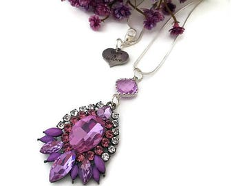 Purple Rhinestone Necklace, Rhinestone Cluster Necklace, Lavender Necklace, Statement Necklace, Purple Rhinestone Necklace