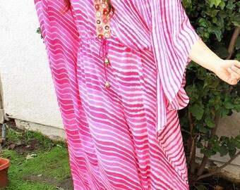 Tie Dye Kaftan, Beach coverup, Swimsuit coverup,pink Caftan,Beach Caftan, Beach kaftan, Boho clothing, beach dress, pink Beach cover up