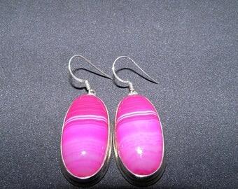 Hot Pink AGATE Earrings Banded Agate Earrings Sterling Silver Earrings Pink Gemstone Earrings Hot Pink Jewelry Pink And Silver Earrings