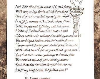 The New Colossus- Poem by Emma Lazarus for the Statue of Liberty