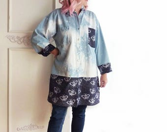 Denim kimono, Upcycled, Boho tunic, vintage batik fabric, butterfly print, tunic top, artsy, blue, navy, oversize, gypsy, Large, XL, 1X