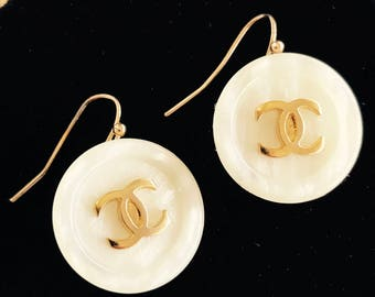 Repurposed Designer buttons, become a new pair of earrings, Inspired by Chanel  C7117-21