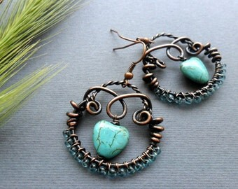 Wire wrapped earrings Turquoise copper earrings Wire wrapped jewelry Heart earrings Copper wire earrings Love heart earrings Gift mom Womens