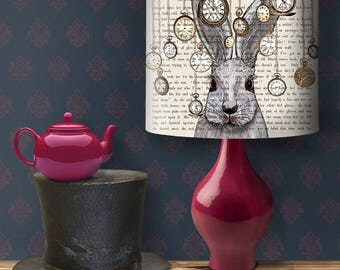 Alice in wonderland decor alice lampshade alice lamp shade drum lampshade drum lamp shade white rabbit lamp wonderland nursery decor Pendant