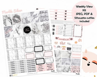 Marble Planner Stickers, Printable stickers, Silver stickers, use with ECLP, floral, glam stickers, Cutfiles, weekly kit, college, quotes