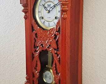 Vintage / Antique 31-Day Mechanical (key wind) Chiming Parlor Pendulum Clock / Wall Clock - Hand Carved Professionally Restored  / Warranty