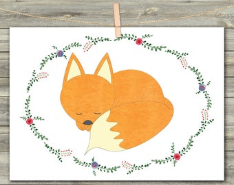 Watercolor Fox Card, DIGITAL CARD, Forest Party Cards, Woodland Baby Shower, Red Fox Print, Cute fox, Birthday Fox, Forest Animals