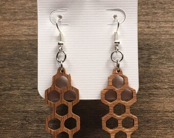 Wood Dangle Earrings | Geometric Earrings | Honeycomb Earrings | Girlfriend Gifts | Unique Handcrafted Wooden Earrings | Boho Jewelry