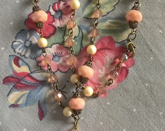 Handmade Pink Peach Faceted Glass And Crystal Beaded Necklace With Carnelian Pendant
