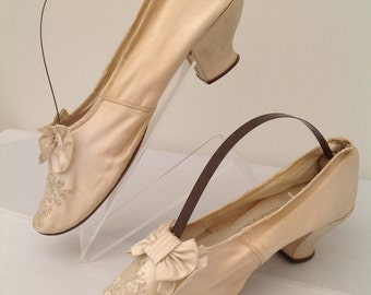 Beautiful Victorian shoes cream silk embroidered and beaded antique
