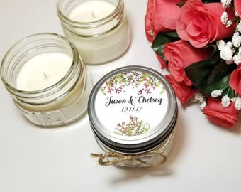 12 - 4 oz Personalized Wedding Candle Favors - Bridal Shower Favor - Thank You Gift for Guest - Soy Candle Favors - Rustic Wedding