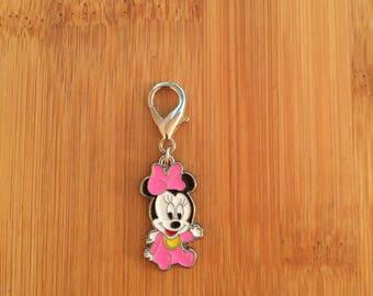 Minnie Mouse zipper charm, Minnie Mouse zipper pull, Minnie Mouse keychain, Disney charm