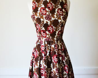 1960s Rose Print Party Dress/Waist 25""