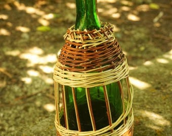 Handmade natural woven willow green glass bottle. Country home,eco-friendly, bohemian,  water,wine, picnic bottle.