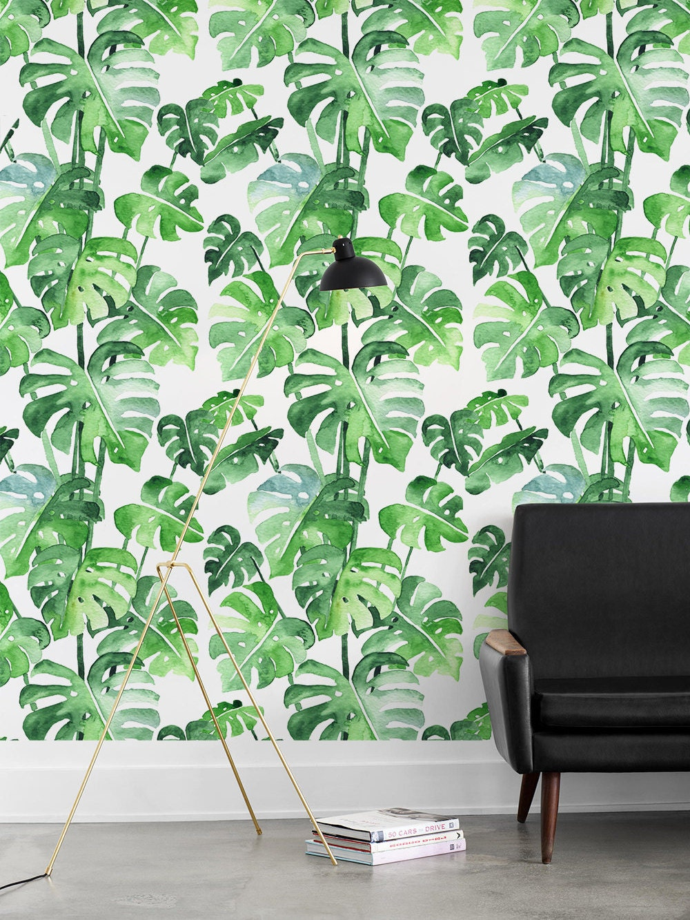 Watercolor Removable Monstera pattern Wallpaper easy to