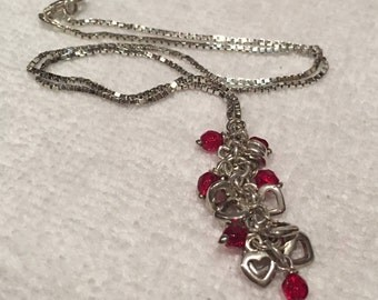 """Absolutely Stunning ITALIAN Vintage Sterling SILVER & RED Stone Lavalier Necklace-Measuring 43cm or 17"""" inches Long-A truly Stunning Piece"""