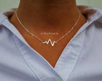 EKG necklace, heartbeat necklace, nurse necklace, ecg necklace, heart beat necklace, medical necklace, ekg charm, sound wave necklace charms