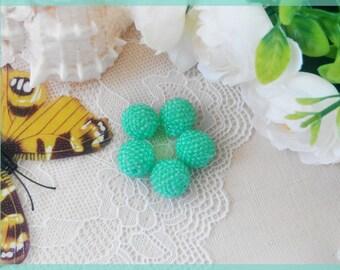 Mint green beads Handmade beaded beads 16 mm DIY jewelry beads Bracelet round glass beads 16 mm Artisan beads Handmade supplies