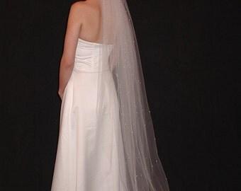 "Simple and Elegant 75"" Floor Length Wedding Veil with raw/cut edge"