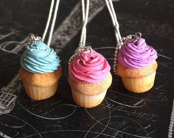 Scented Frosted Vanilla Cupcakes Pendant Necklace *polymer clay*
