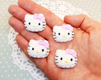 4pc Sushi Rice Hello Kitty Head 28mm Kawaii Resin Flatback Cabochon Scrapbook Decoden Craft DIY