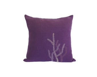 """Hand Embroidered Linen Throw Pillow - """"Kelp"""" in Purple - 18""""x18"""""""