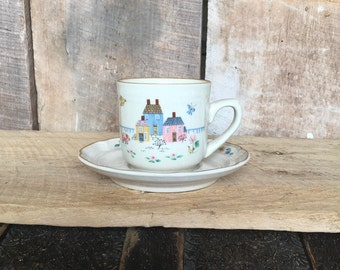 International Tableware Heartland Cup and Saucer , 7774 , Stoneware , Coffee Cup and Saucer , Primitive , Houses , Replacement