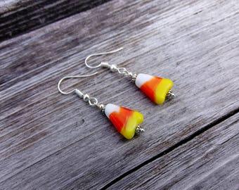 Candy Corn Earrings ~ Halloween Earrings ~ Halloween Jewelry ~ White Orange Yellow ~ Sterling Silver French Hooks