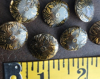Vintage buttons, vintage sewing notions, sewing notions, buttons, old buttons, embellishments, accessories, black and gold buttons,