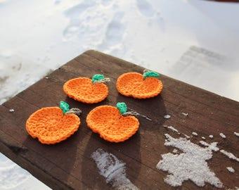 Crocheted Pumpkin Coaster Set of 4